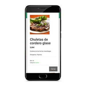 carta digital en el móvil con imagenes